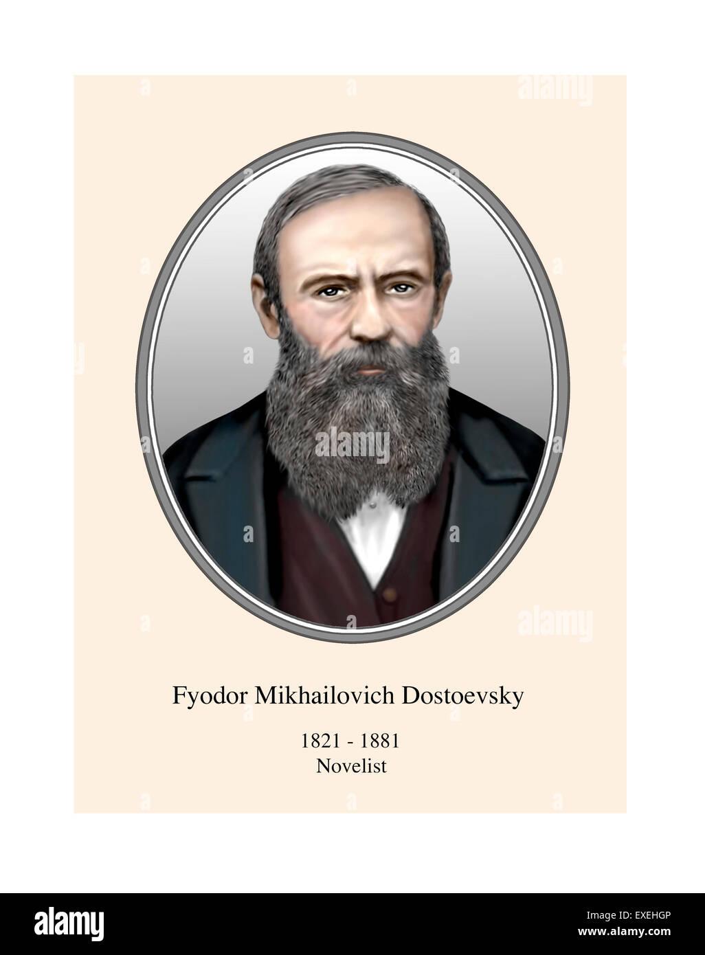 Fyodor Dostoevsky Portrait Modern Illustration - Stock Image