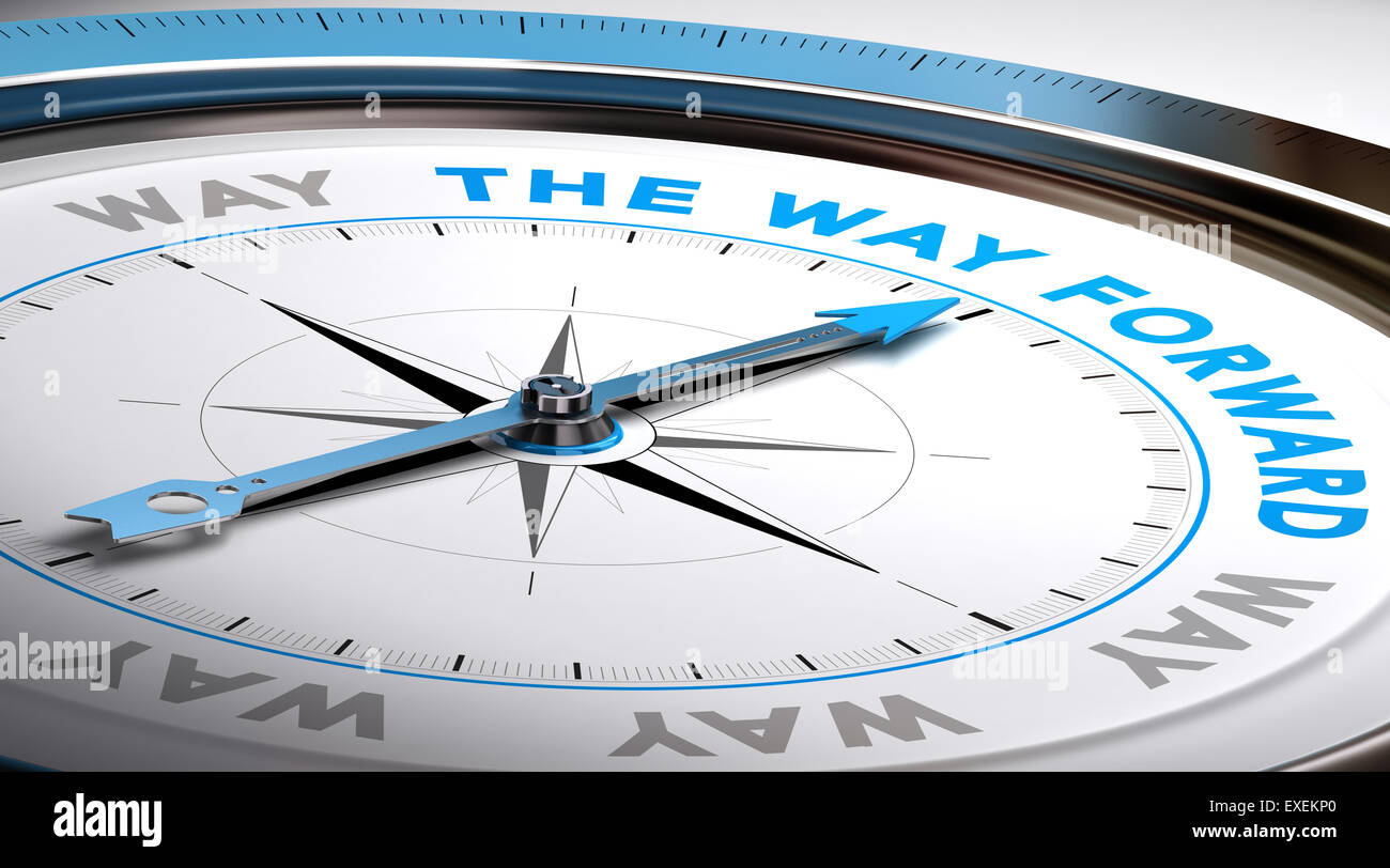 Compass with needle pointing the text way forward. Conceptual illustration suitable for choice or consulting purpose. - Stock Image