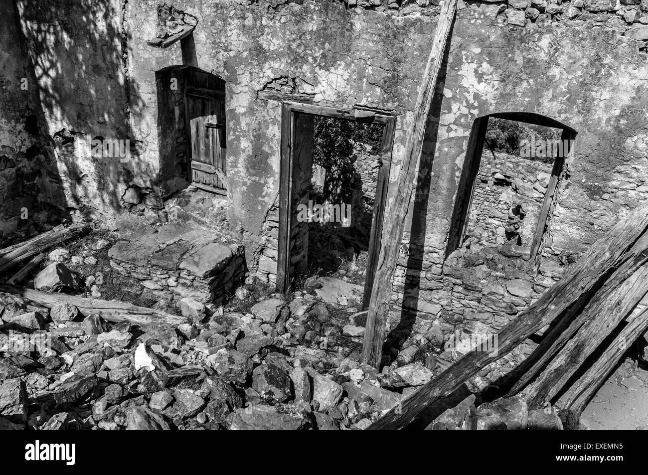 House ruins in Micro Horio, Tilos. - Stock Image