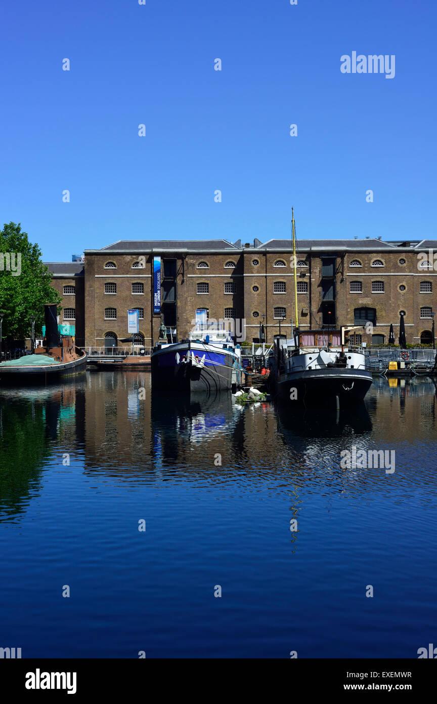 West India Quay, Museum of London Docklands, Canary Wharf Estate, Docklands, London E14, United Kingdom - Stock Image