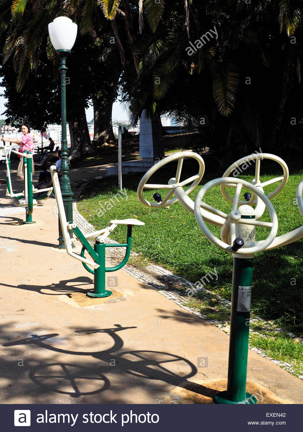 Public exercise machines in Jardim do Torel park, Lisbon, Portugal - Stock Image