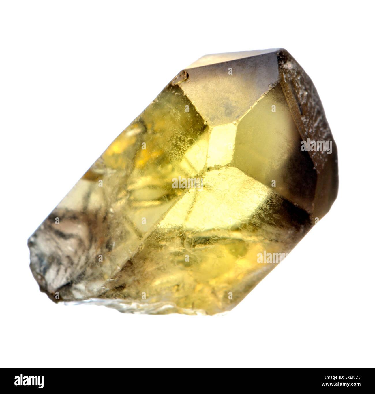 Citrine Point (hexagonal crystal of yellow quartz) - Stock Image