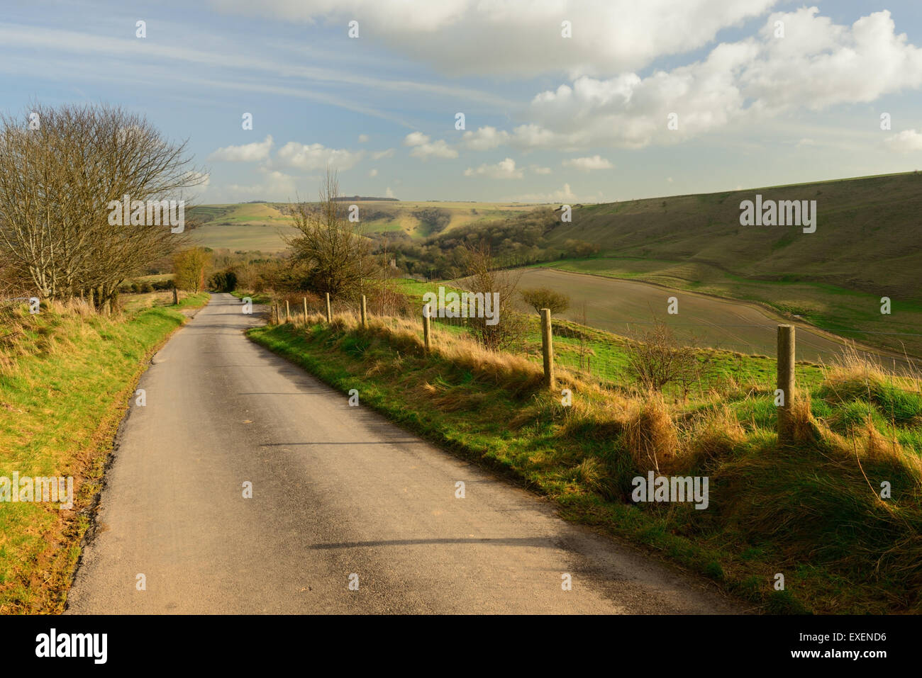 Combe Bottom, looking towards Bratton. Stock Photo