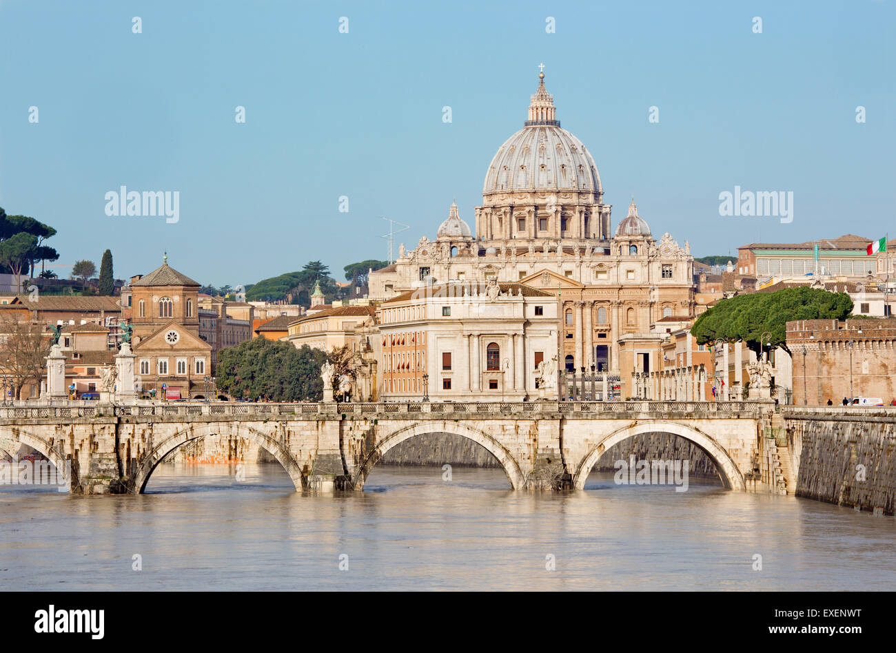 Rome - Angels bridge and St. Peters basilica in morning - Stock Image