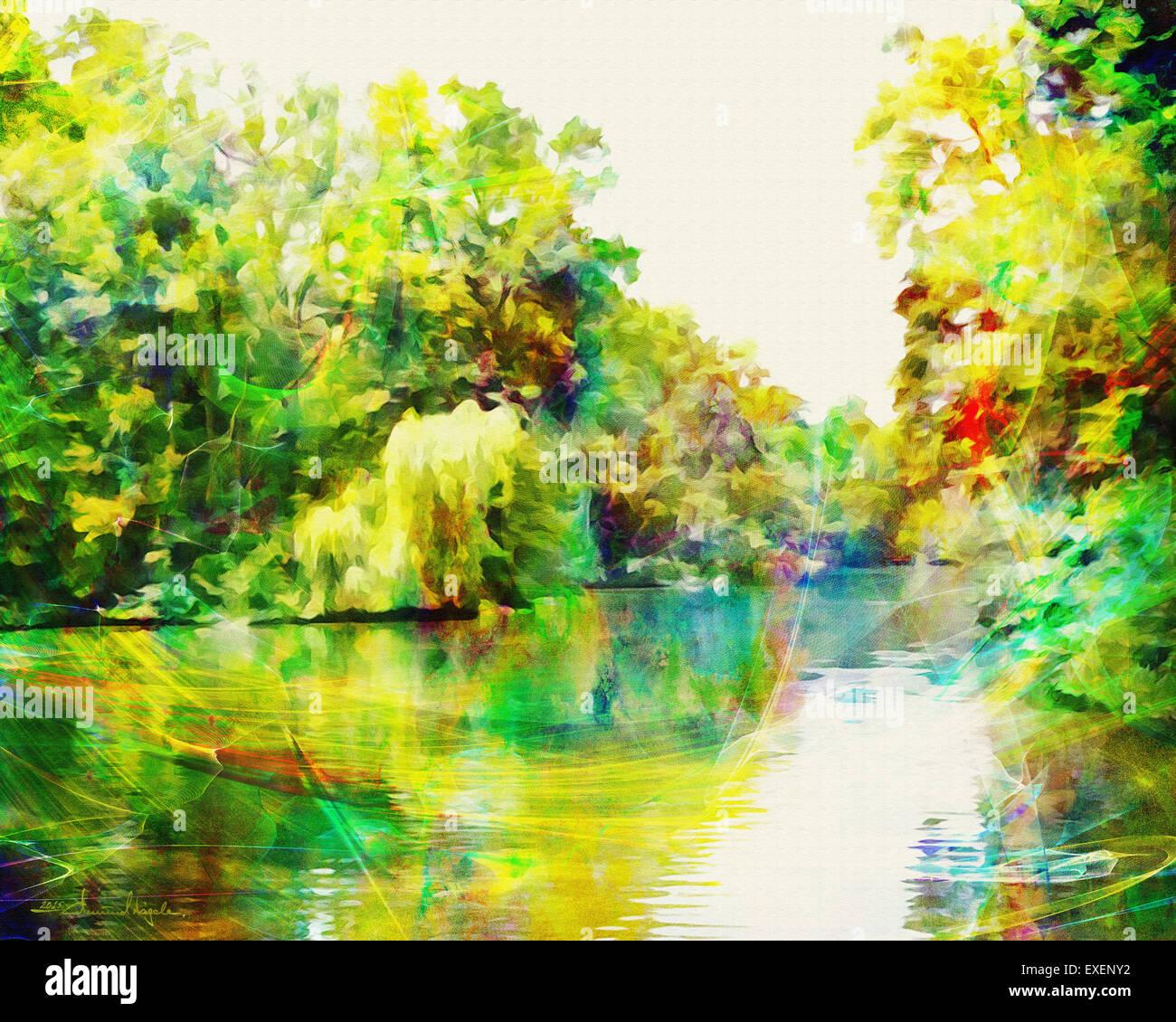 DIGITAL ART: Nymphenburg Park at Munich (Germany/Bavaria) - Stock Image