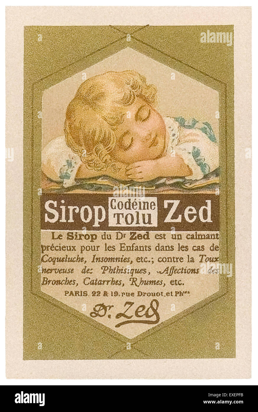 Trading card for Sirop Zed produced by Léopold Verger & Companie, Paris circa 1890. Sirop-Zed (and the - Stock Image