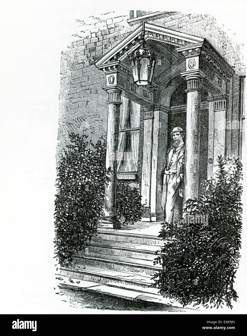 This illustration from John Forster's The Life of Charles dickens shows the porch at Gadshill, the mansion in the Stock Photo