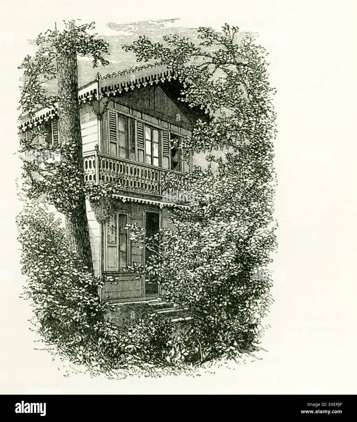 In 1864, the actor Charles Fechter gave Charles Dickens a pre-fabricated two-story Swiss chalet house that Dickens Stock Photo