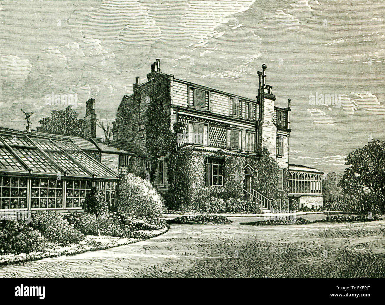 This illustration from John Forster's The Life of Charles Dickens shows the house and conservatory at Gadshill from Stock Photo