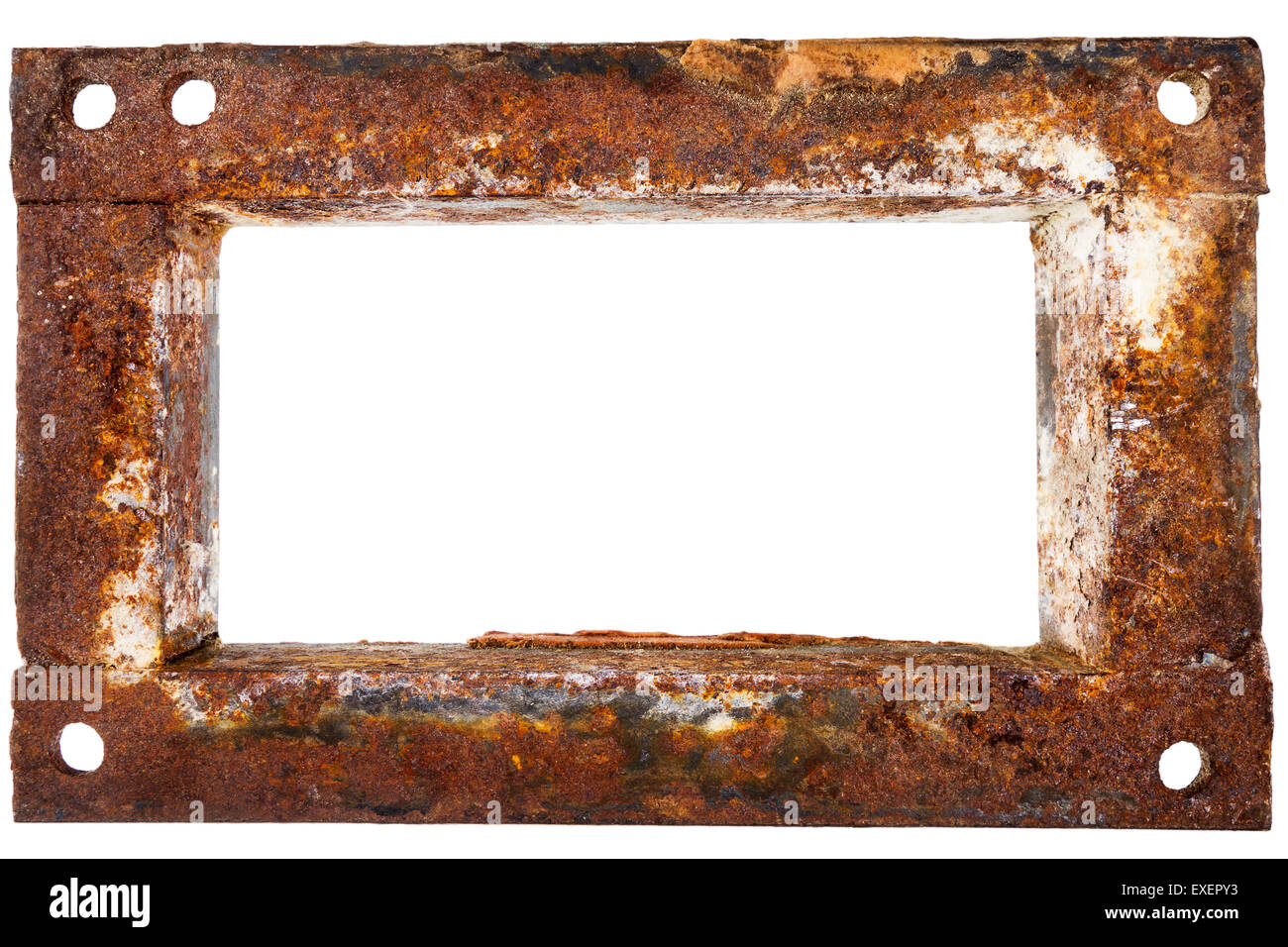 Old rusty metal frame isolated on white background Stock Photo ...