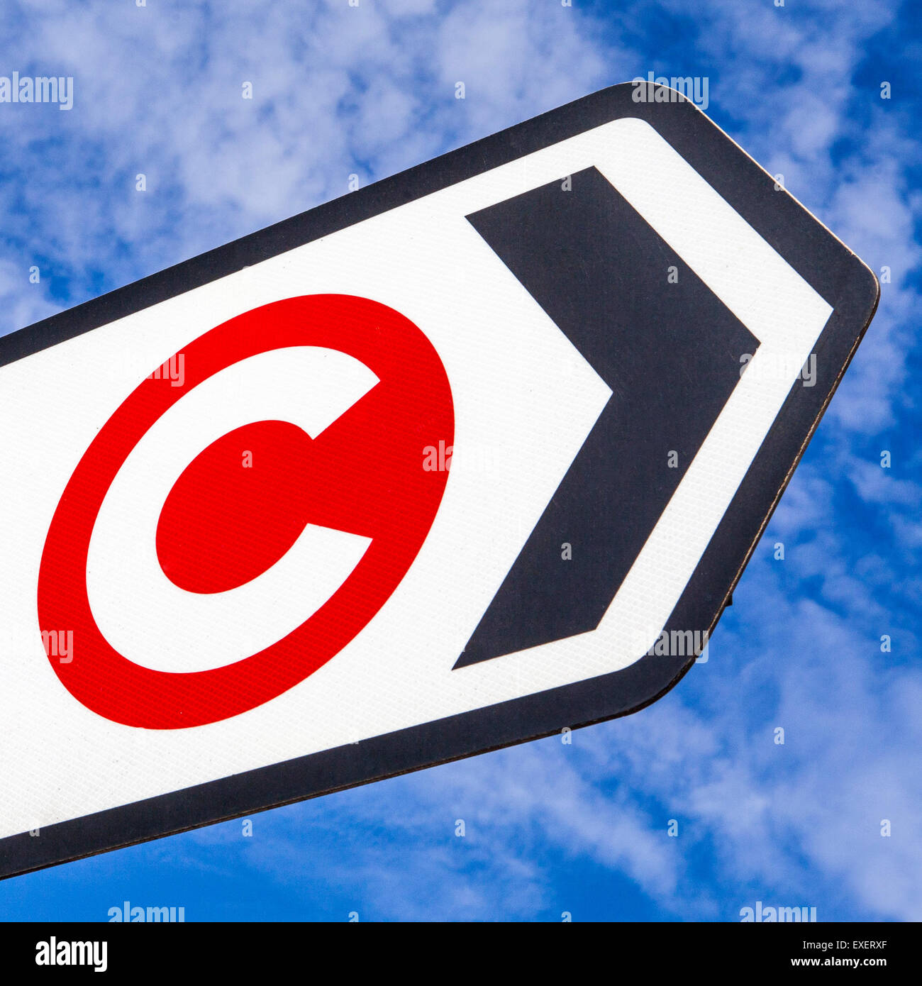 LONDON, UK - JULY 10TH 2015: The London Congestion Charge symbol on a sign in central London, on 10th July 2015. - Stock Image