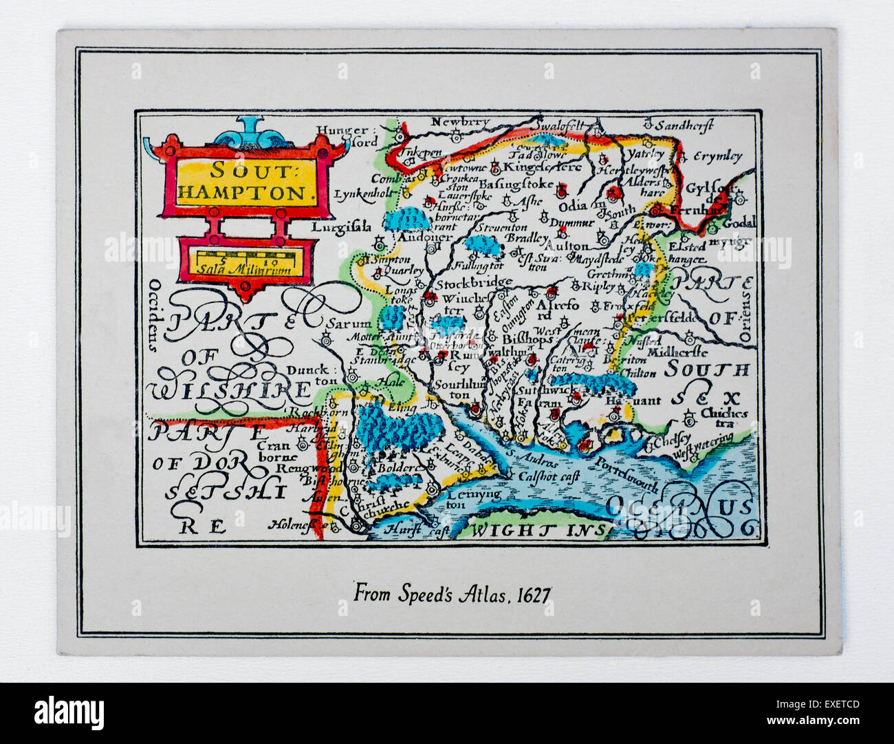 Antique or Vintage Map of Southampton and Hampshire from Speeds Atlas 1627 - Stock Image