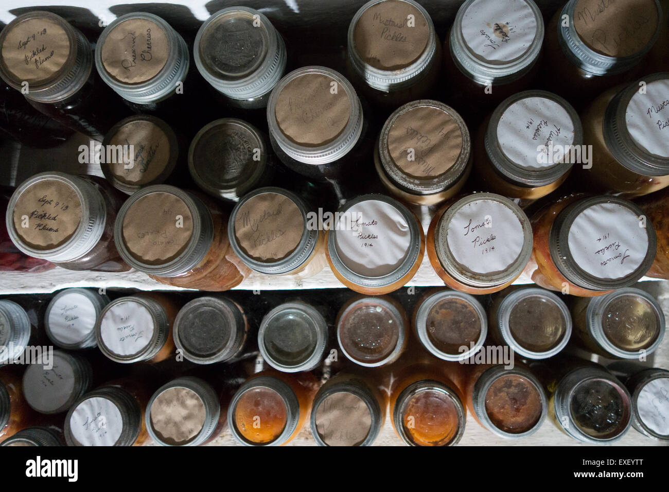 preserved food in mason jars - Stock Image