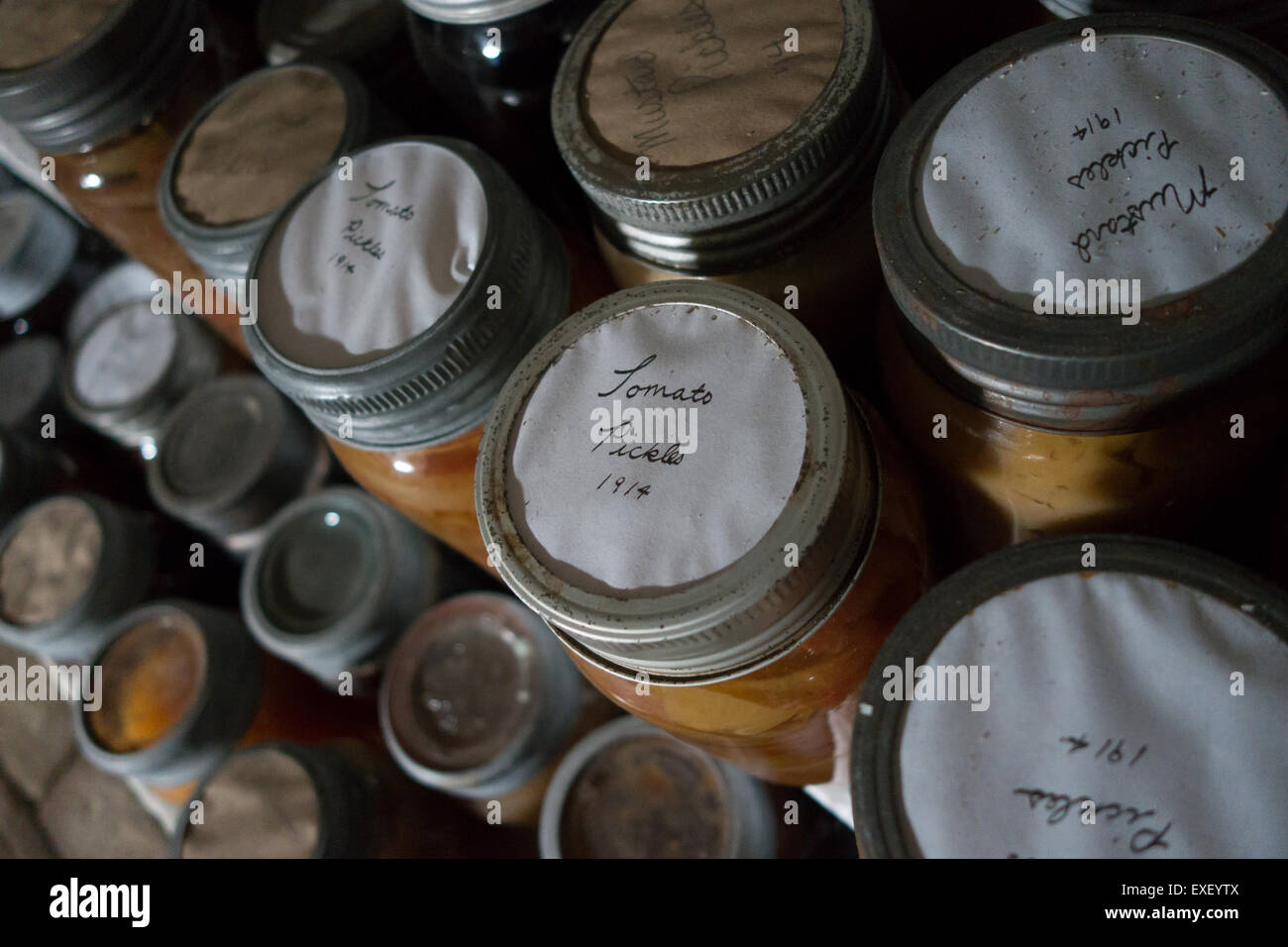 preserved food mason jar label - Stock Image