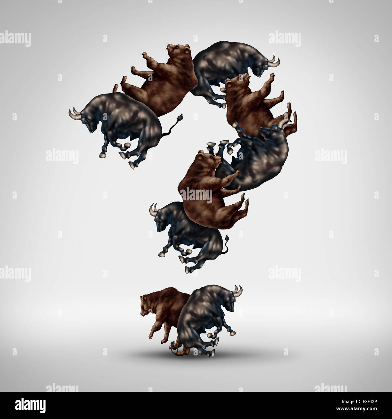 Bulls and bears questions with a stock market bull and bear shaped as a question mark as a financial investing concept - Stock Image