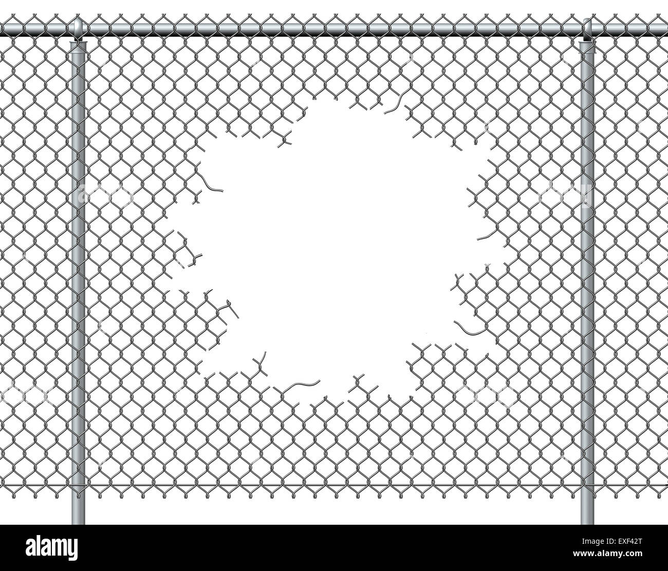 Chain link fence hole with blank copy space isolated on a white background burst with ripped chainlink metal wire - Stock Image
