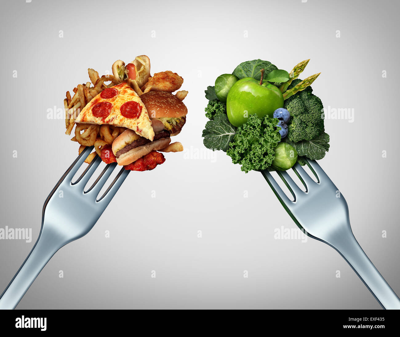 Diet struggle and decision concept and nutrition choices dilemma between healthy good fresh fruit and vegetables - Stock Image