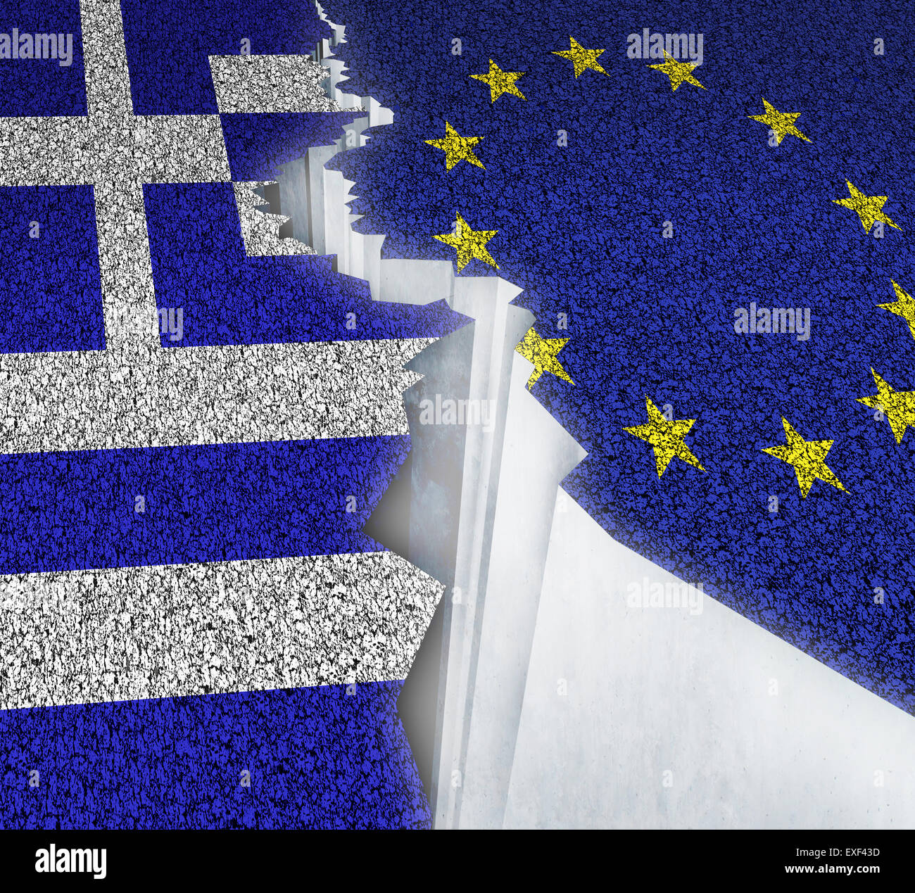 Greece Europe failure concept as a dividing crack on a broken road with the European union and Greek flag as a failure - Stock Image