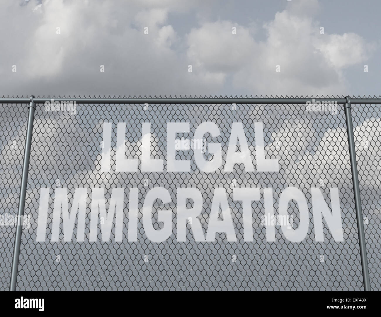 Illegal immigration concept as a chain fence with a hole shaped as text that represents people illegaly crossing - Stock Image