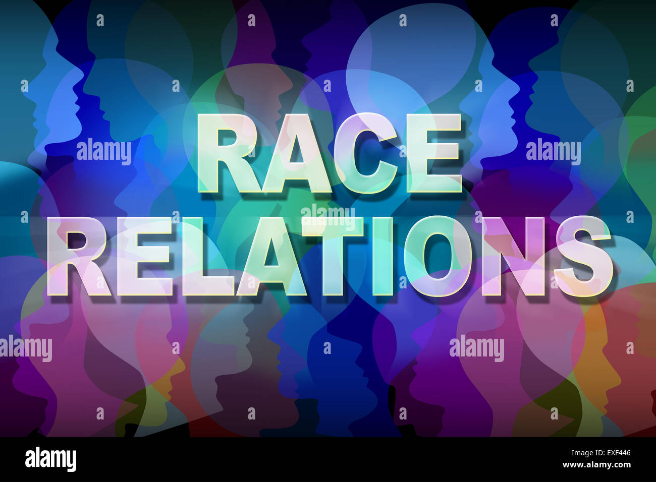 Race relations social issue concept as a group of people heads and faces of different colors with text as a symbol - Stock Image