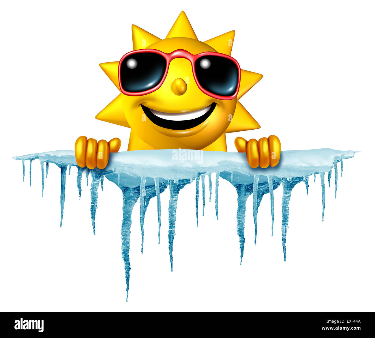 Summer cool down concept and cooling off idea as a sun character icon holding on to a chunk of snow and ice with - Stock Image