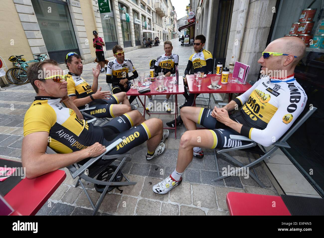 Pau, France. 13th July, 2015. Tour de France Rest day 1. Picture showing Team LottoNL-Jumbo with LEEZER Tom, VAN - Stock Image