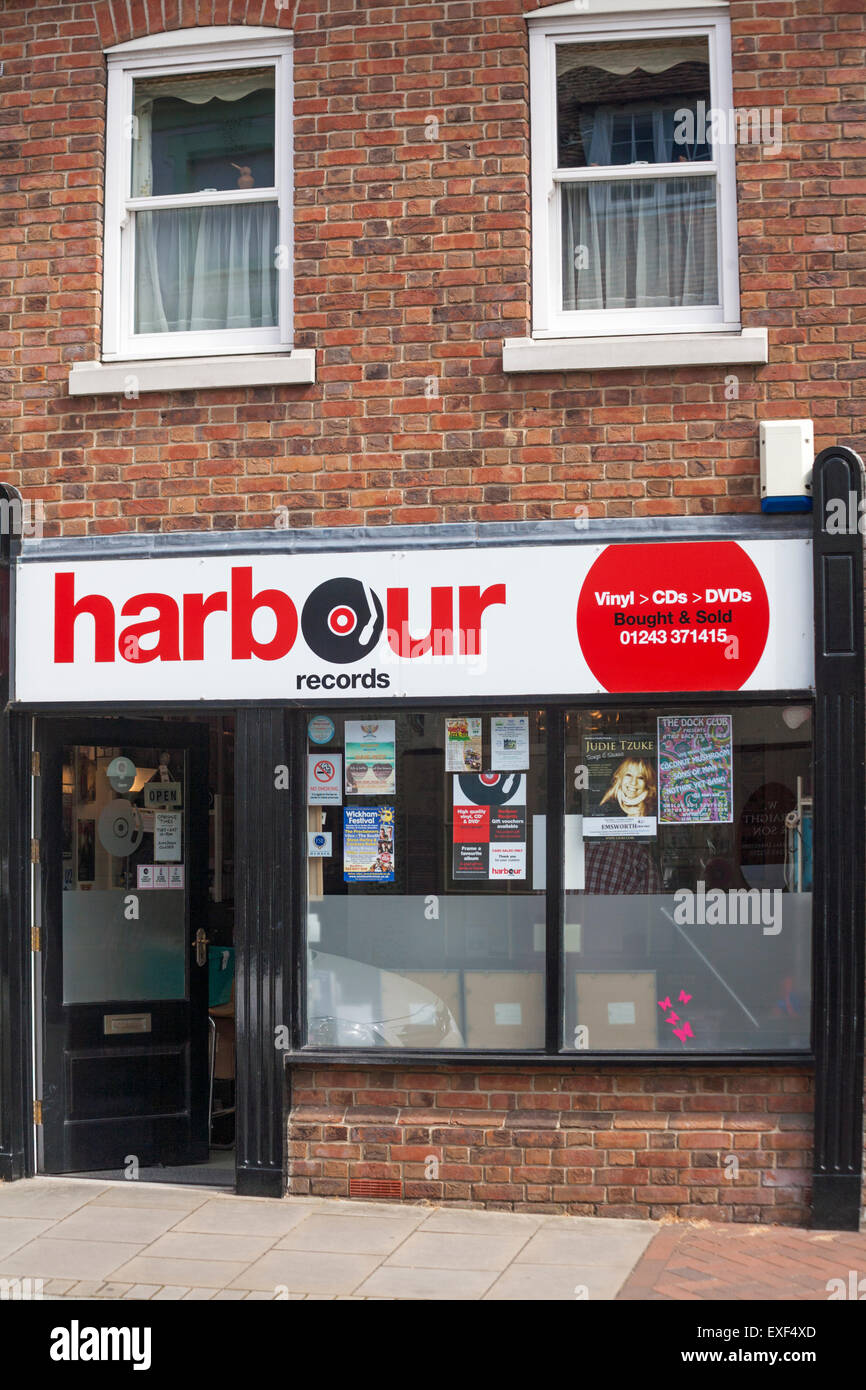 Harbour Records vinyl CDs DVDs bought and sold shop at Emsworth, Hampshire, UK in July - Stock Image