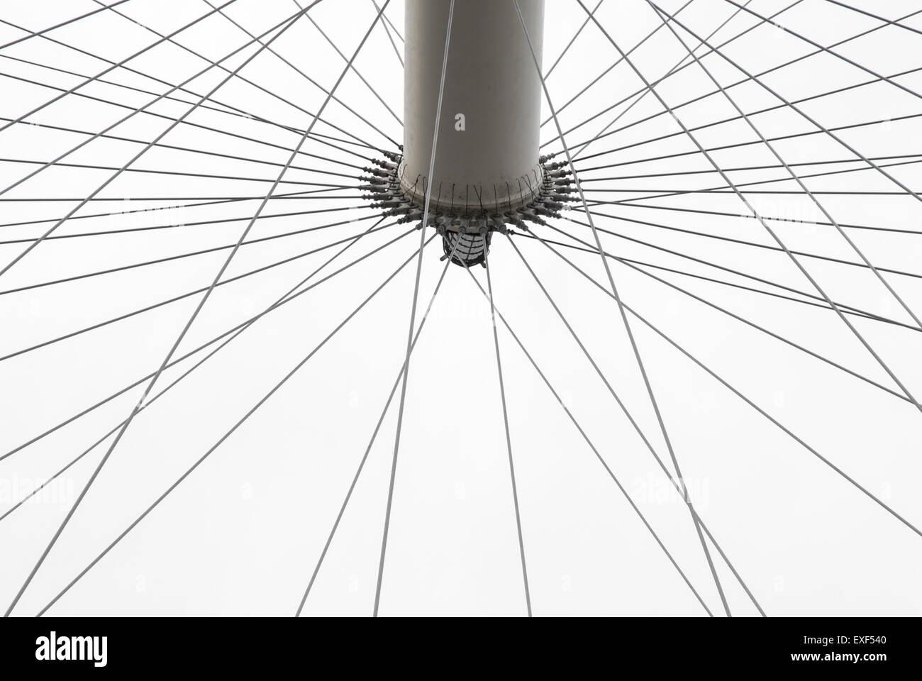 spokes of huge Ferris Wheel - Stock Image