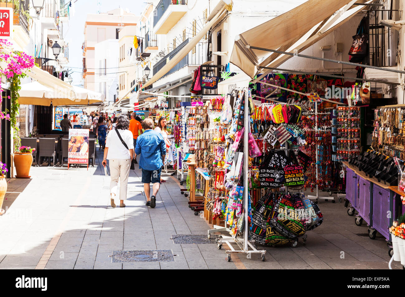 ibiza town shopping street stalls shops stores tourist tat for sale stock photo 85156270 alamy. Black Bedroom Furniture Sets. Home Design Ideas