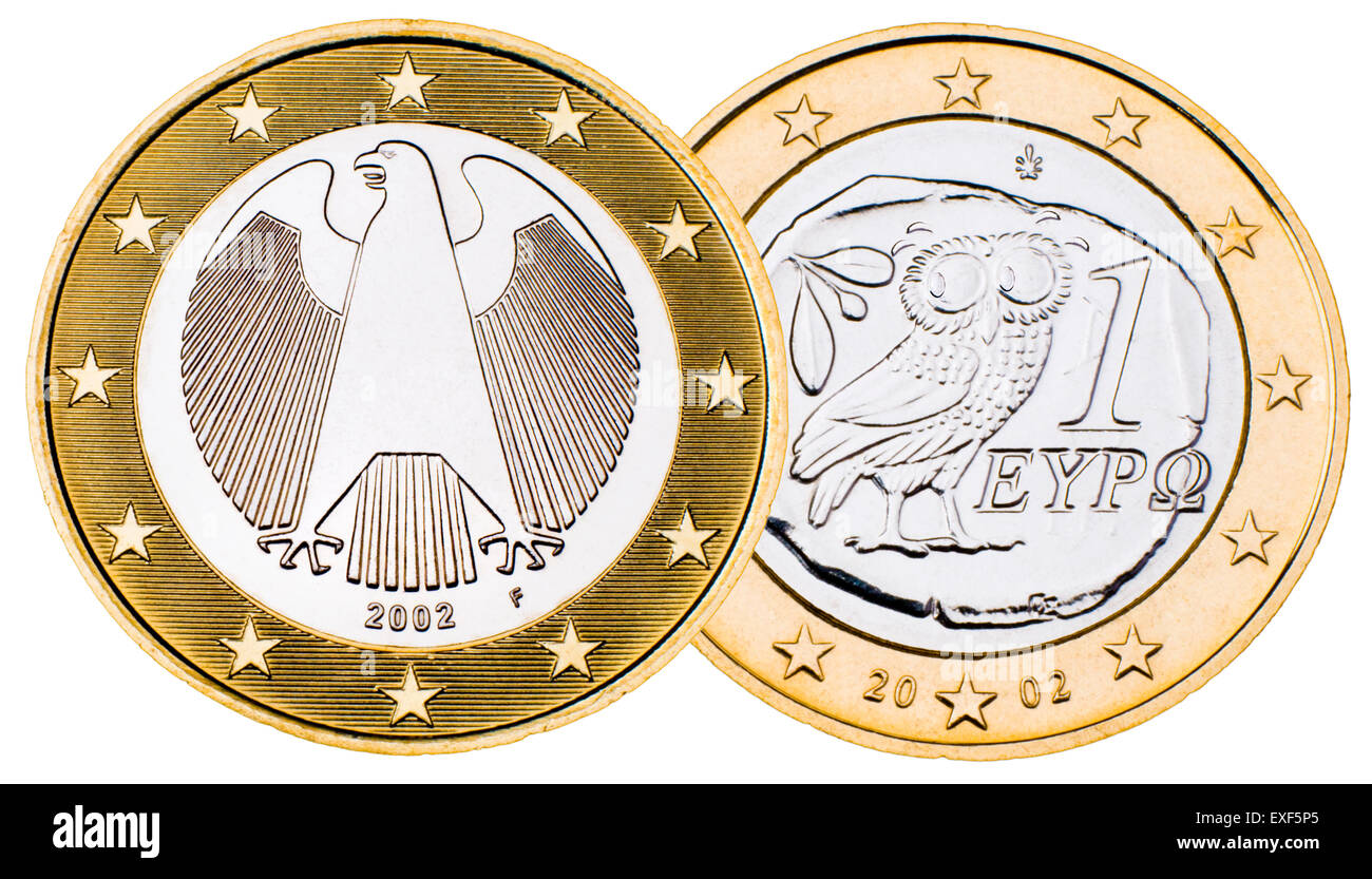 Greek 1 Euro Coin worrying about its more powerful German counterpart - Stock Image