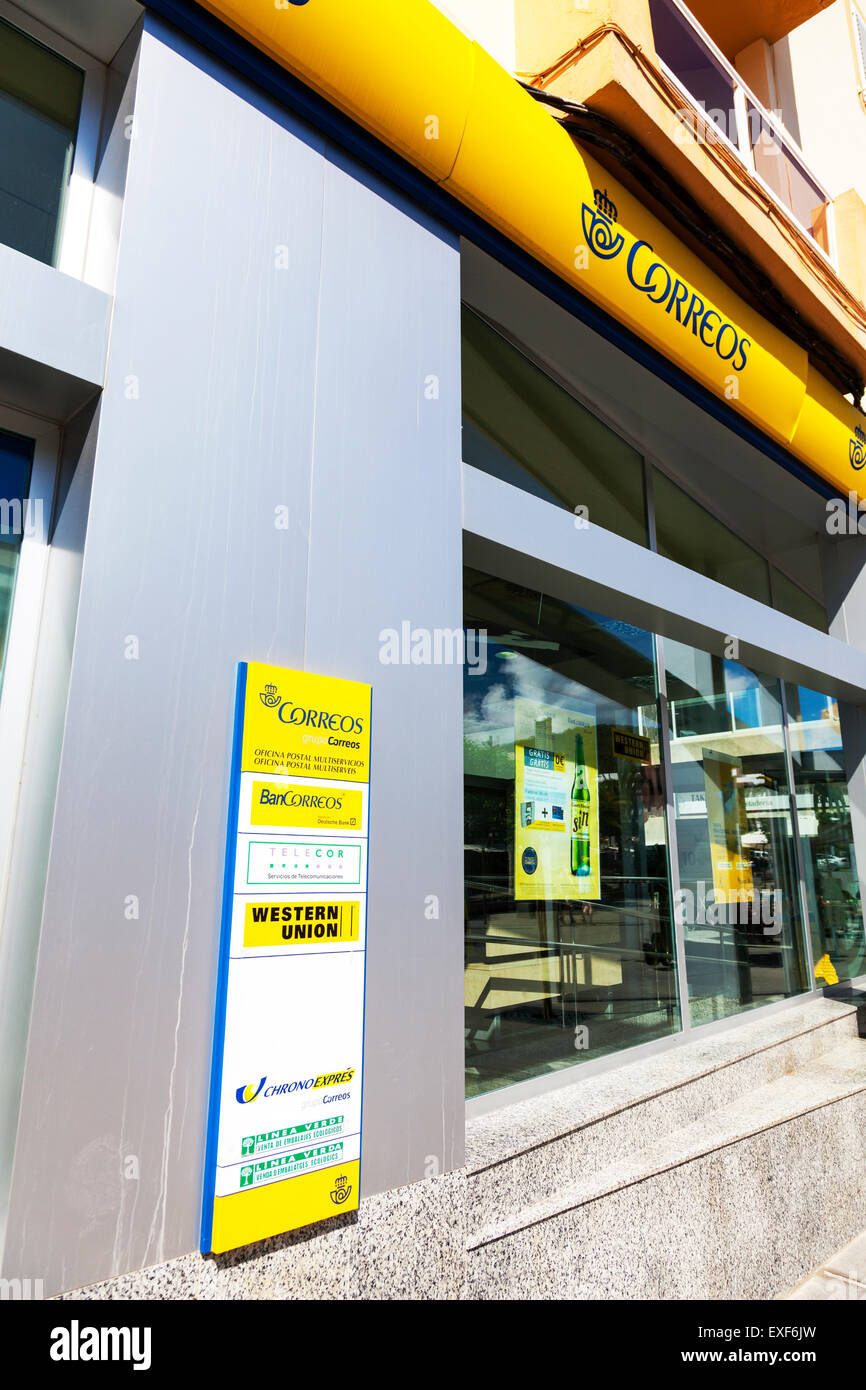 Correos, is the national postal service of Spain, as recognized by the Universal Postal Union - Stock Image