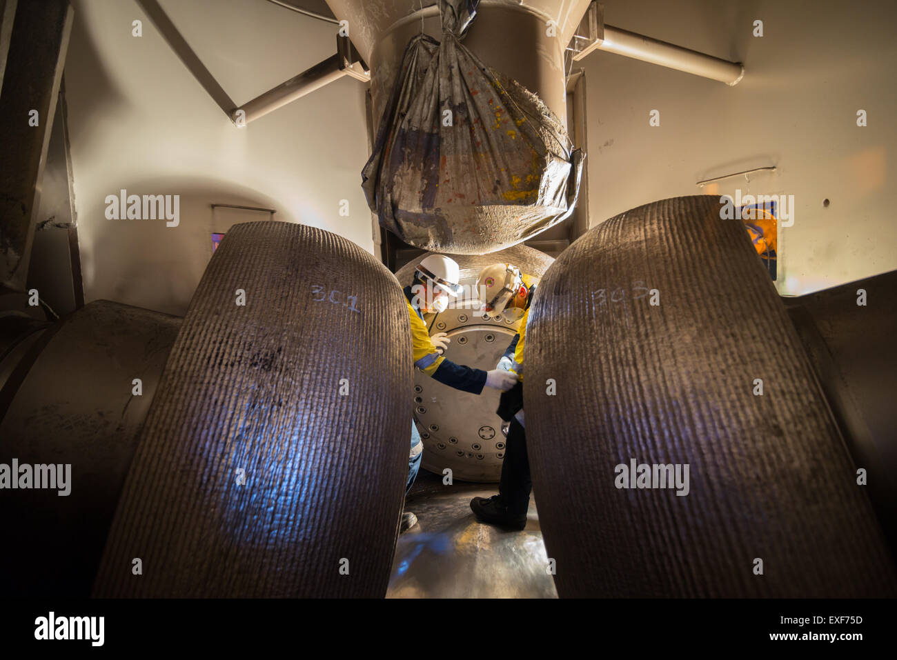 Maintenance activity at coal-fired power plant. - Stock Image
