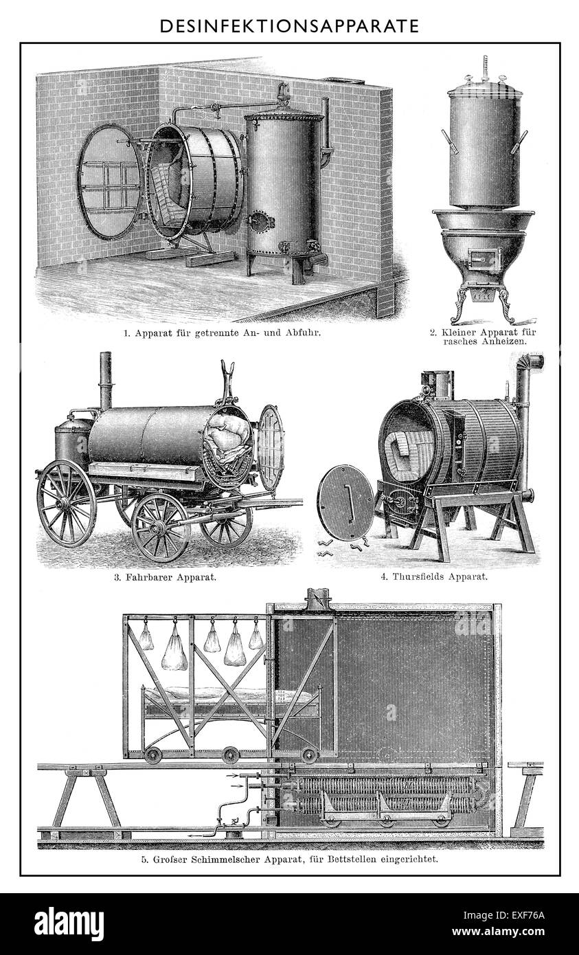 Disinfection equipment, disinfection cabinet, 1890, - Stock Image