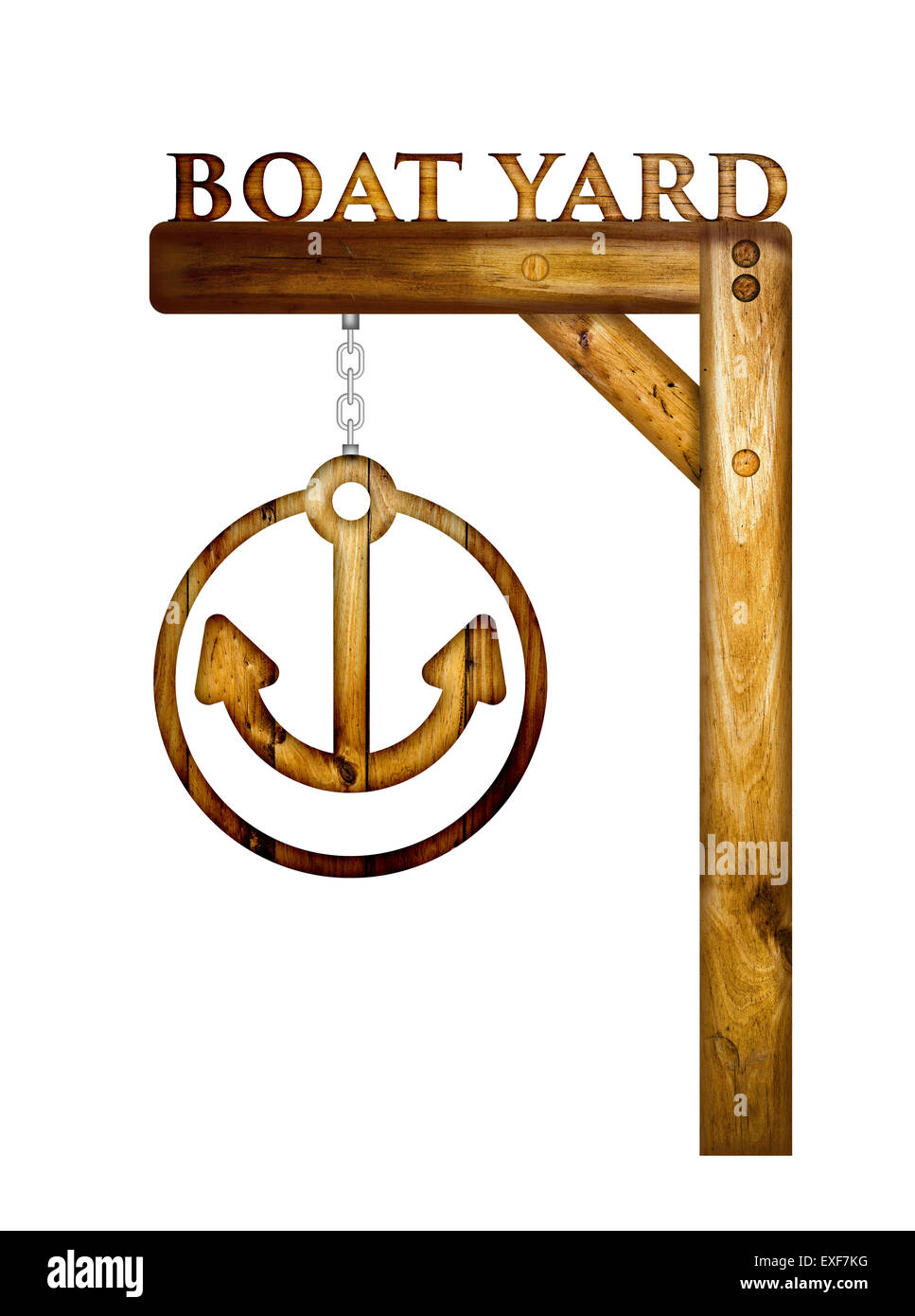 Wooden rusty boat yard sign over a white background. Stock Photo