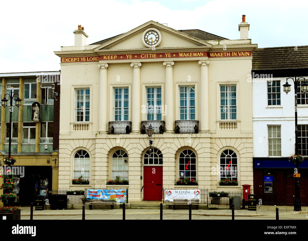 Ripon Town Hall with Wakeman inscription, Market Square, Yorkshire England UK Stock Photo