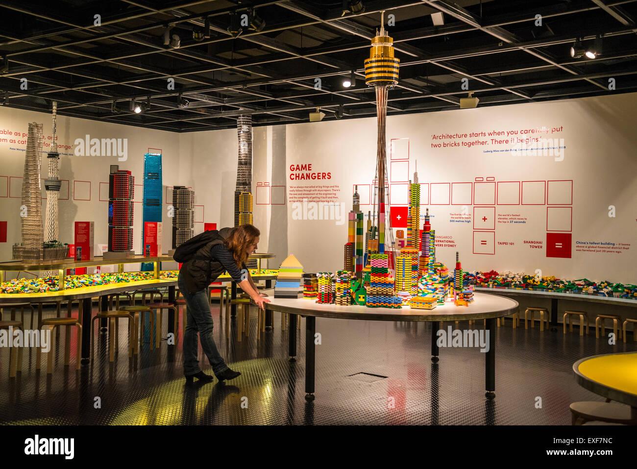 Museum of Sydney, 'Towers of Tomorrow' with LEGO Bricks exhibition, Sydney, Australia - Stock Image