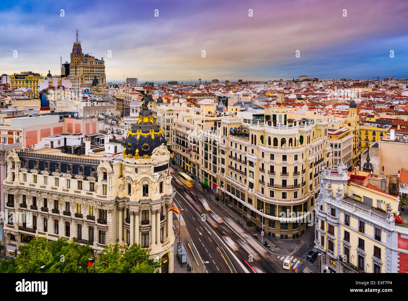 Madrid, Spain cityscape above Gran Via shopping street. - Stock Image