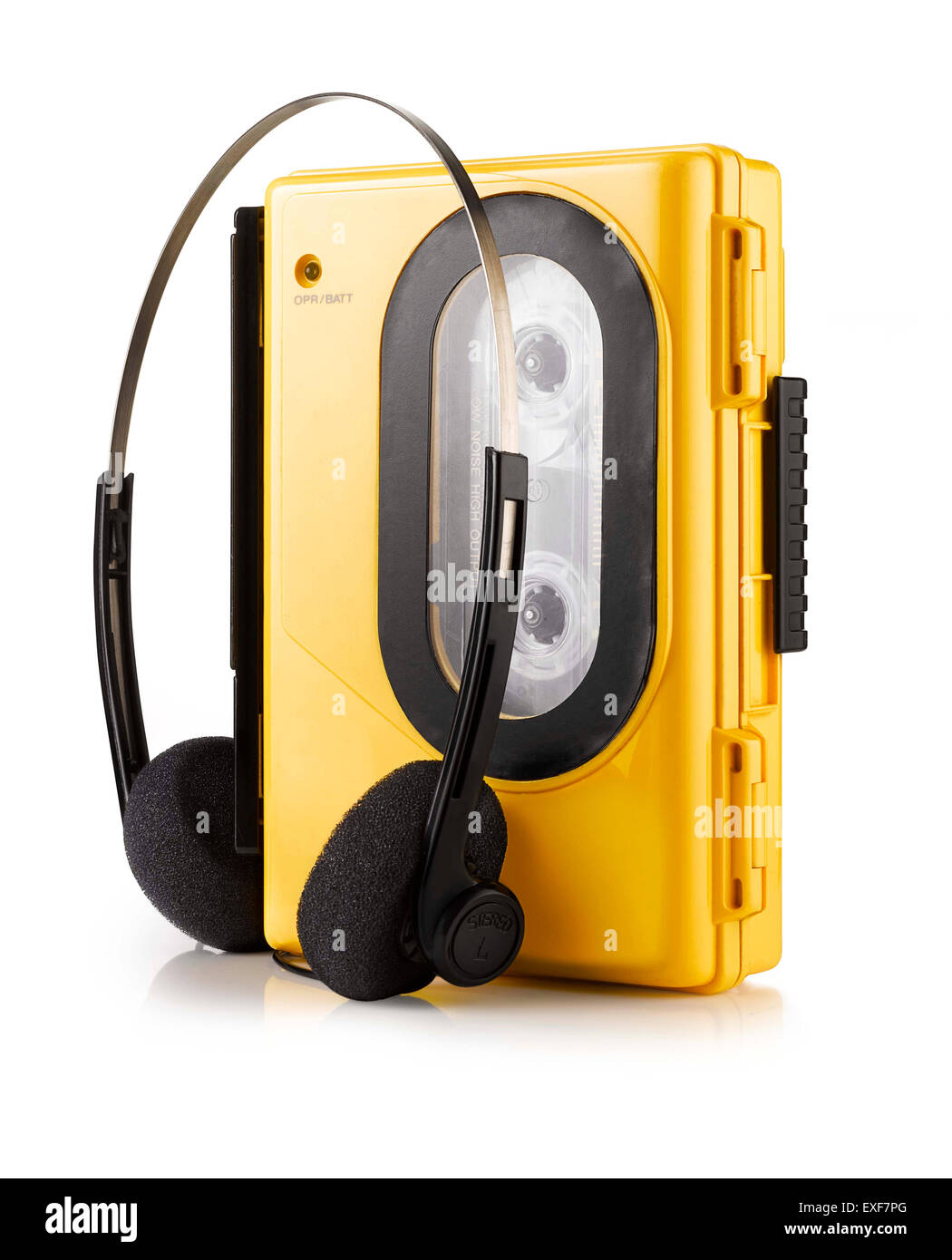 An old fashioned yellow portable Walkman style cassette player - Stock Image