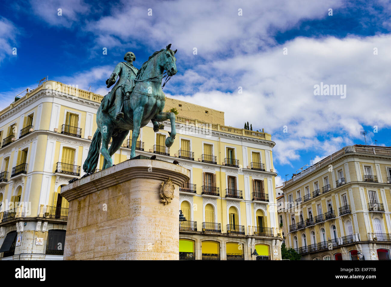 Madrid, Spain at the King Charles III equestrian statue in Puerta del Sol. - Stock Image