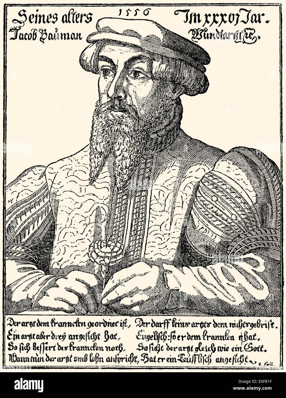 Jacob Baumann, 1521-1586, a Swiss surgeon living in Nuremberg - Stock Image