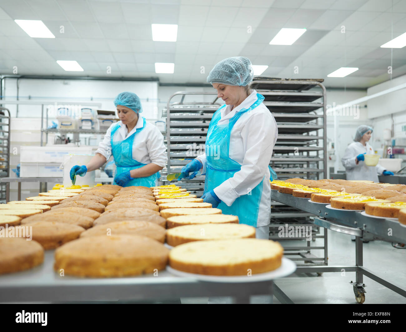 Female workers spreading filling on cakes in cake factory - Stock Image