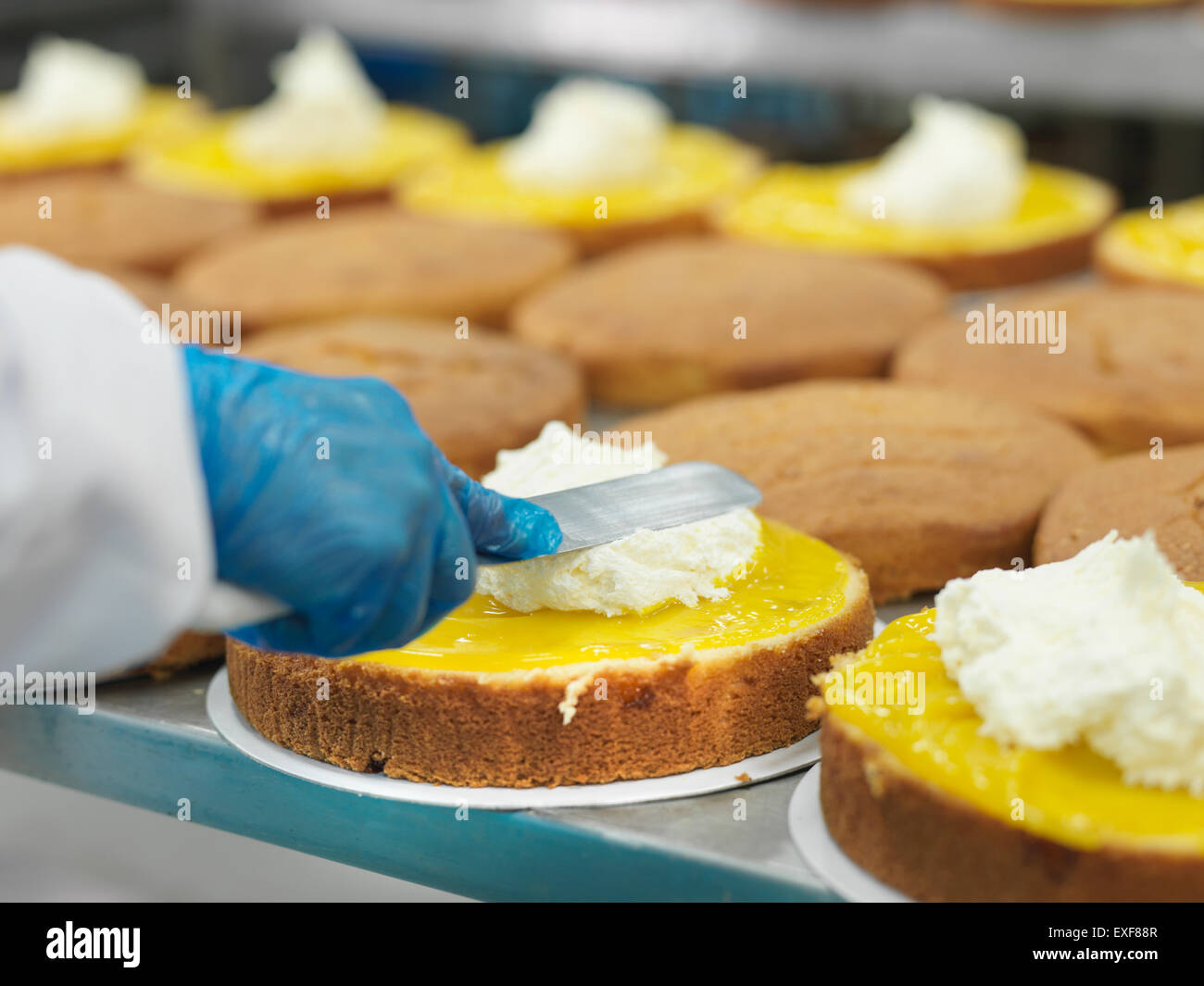 Female worker spreading filling on cakes in cake factory, close up - Stock Image