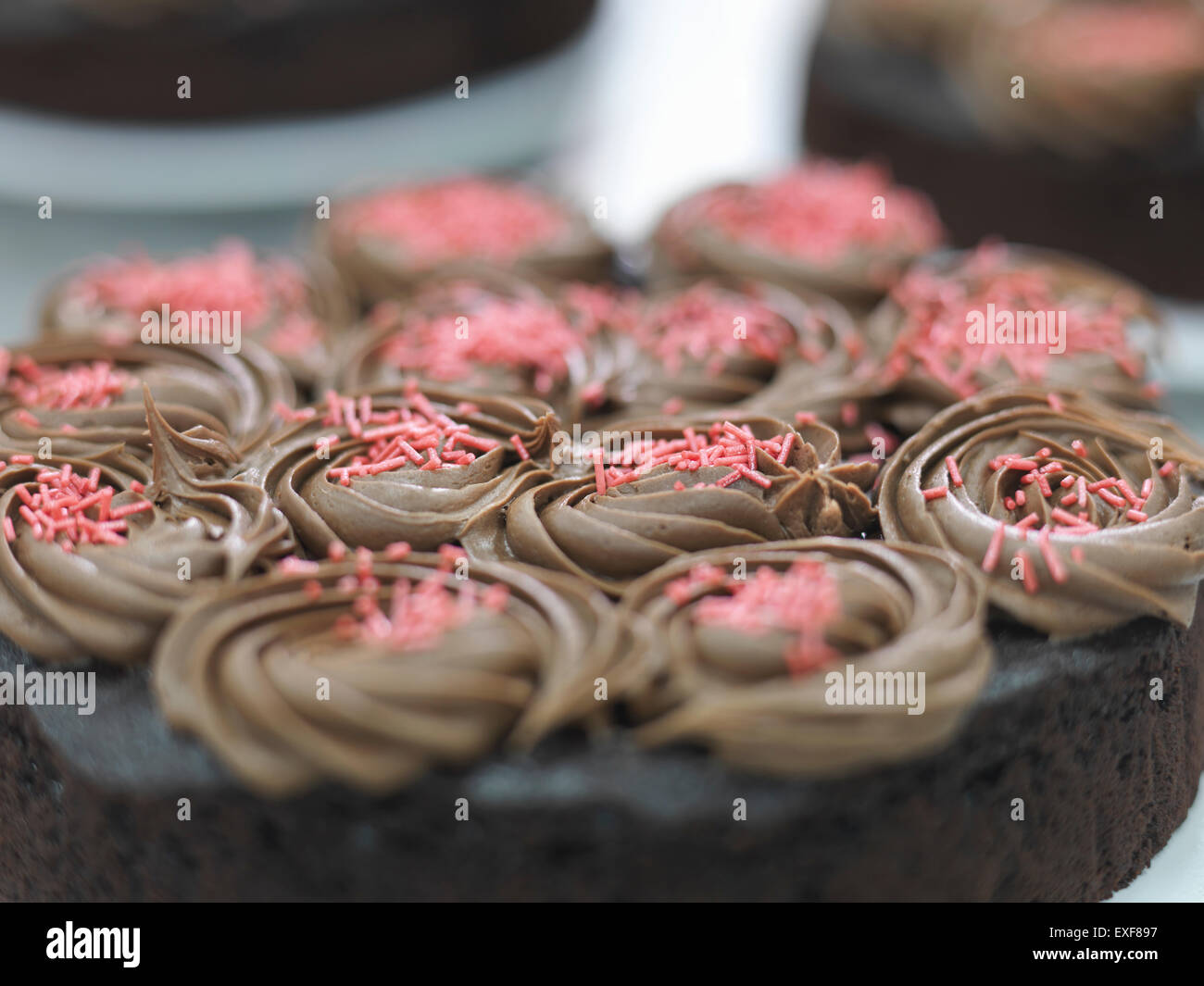 Prepared cake in cake factory, close up - Stock Image
