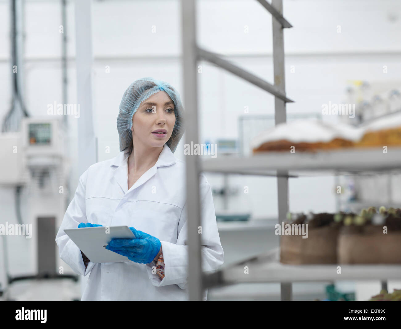Female baker checking stock on digital tablet in cake factory - Stock Image