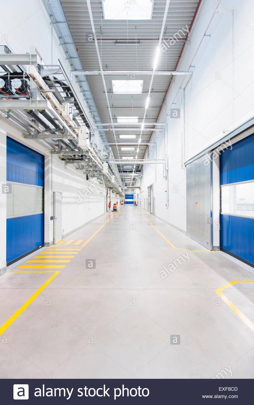 Factory Corridor With Industrial Sliding Doors