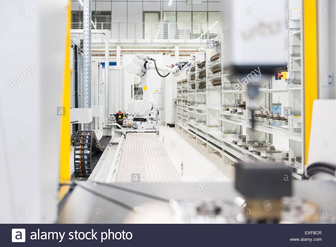 Factory conveyer belt on production line - Stock Image