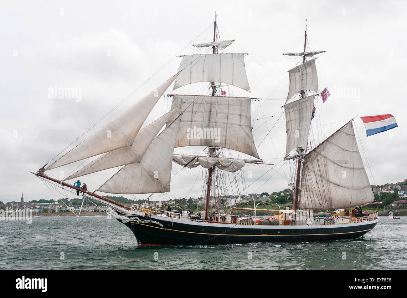 Class B tall ship, Morgenster, leaves Belfast during the start of the 2015 Tall Ships race - Stock Image