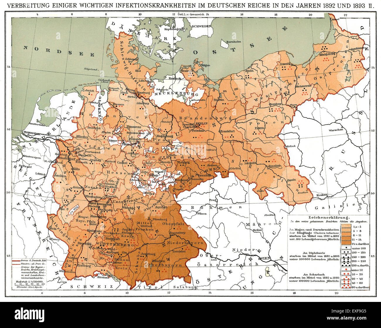 Historical map, spread of infectious diseases in the German Empire in 1892 and 1893 - Stock Image