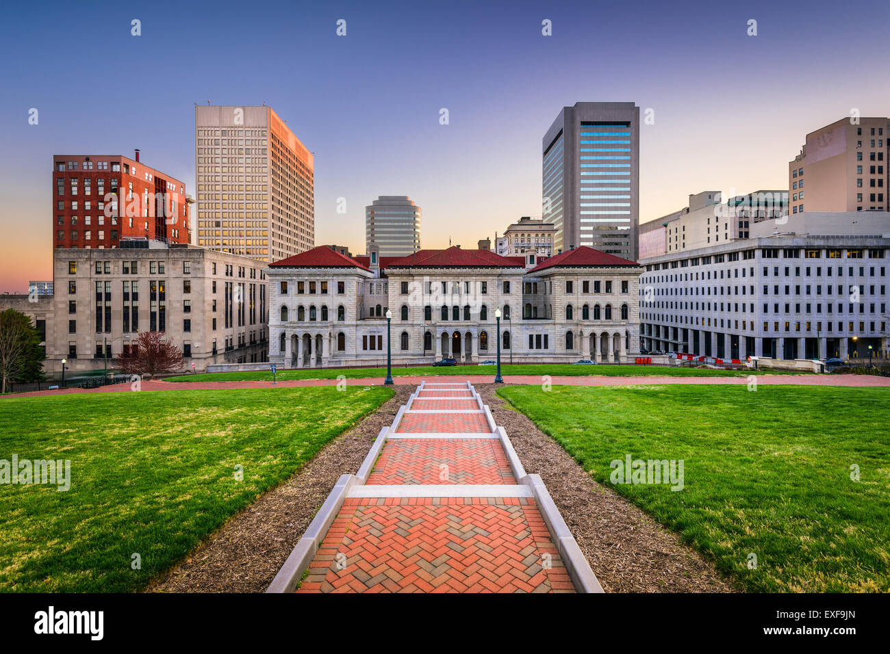 Richmond, Virginia, USA downtown cityscape viewed from the Capitol Building grounds. - Stock Image