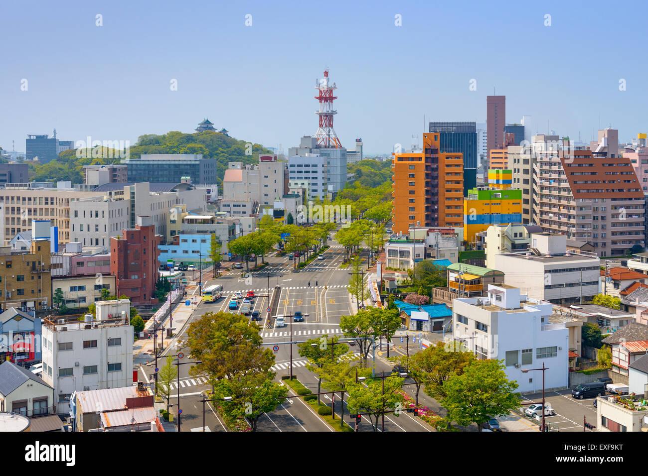 Wakayama City, Japan downtown cityscape. - Stock Image